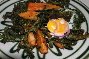 Sunday dinner of kale. sweet potatoes and shirred eggs