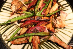 roasted Swallow Rail chicken, asparagus and potatoes